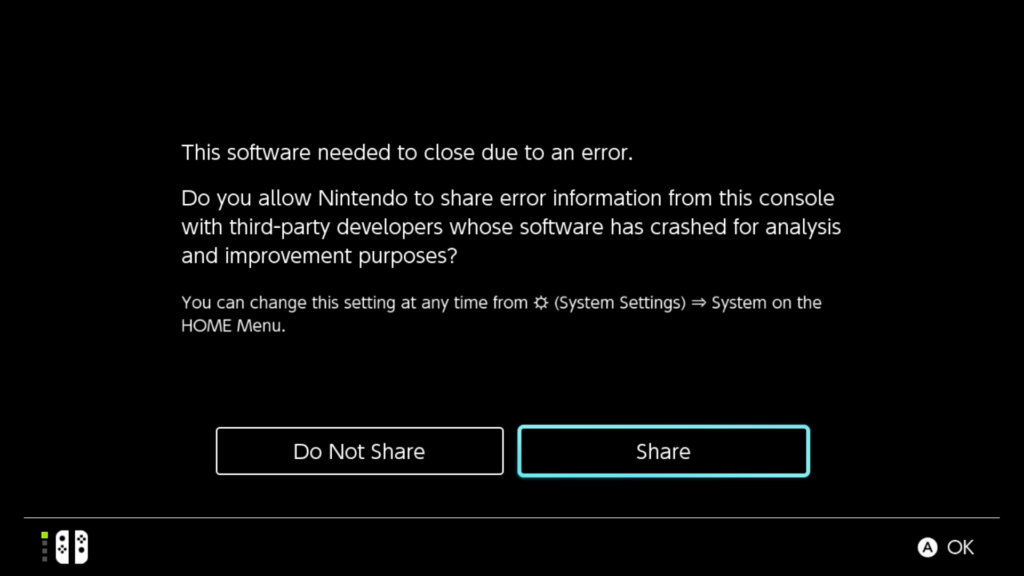 A screenshot of an error message because RBI Baseball 17 on the Switch is sort of garbage